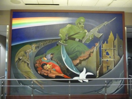 Activist post 12 images that demonstrate how the new for Mural in denver airport