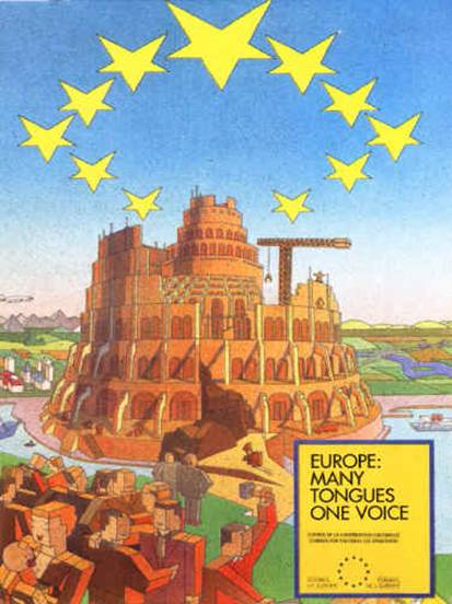 EU Poster Tower Of Babel Top 12 NWO Symbols   Mass Mind Control