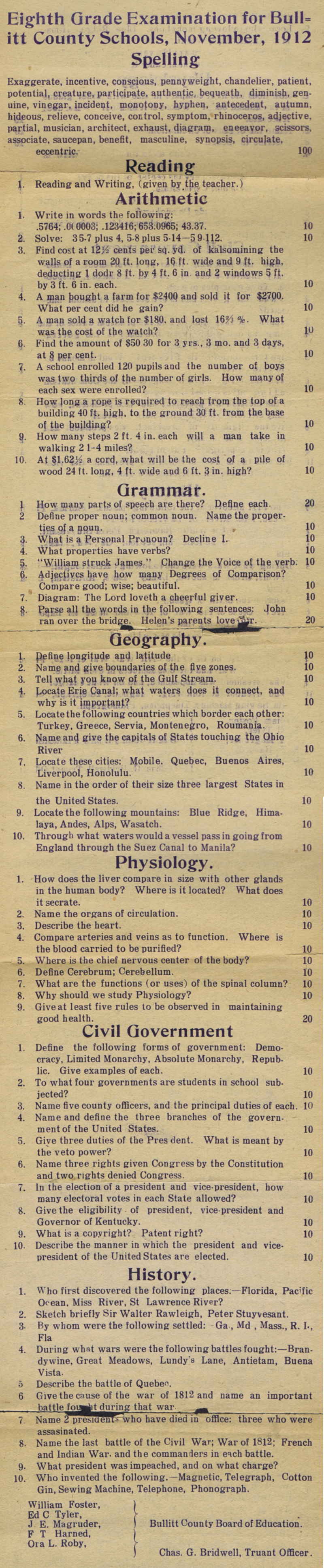 Newly Discovered Eighth Grade Exam From 1912 Shows How Dumbed Down America Has Become Eighth Grade Exam