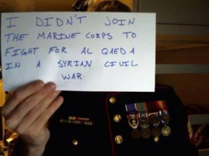 #IDidntJoin: Stunning Photos Of U.S. Service Members Publicly Saying No To War With Syria I Didnt Join The Marine Corps To Fight For Al Qaeda 300x224