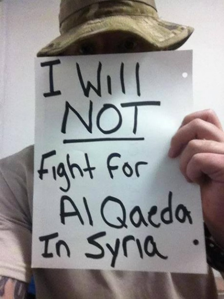 #IDidntJoin: Stunning Photos Of U.S. Service Members Publicly Saying No To War With Syria I will Not Fight For Al Qaeda In Syria 460x613