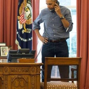 Obama On The Phone Talking To Russian President Vladimir Putin