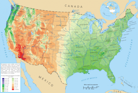 Average Precipitation United States - Public Domain