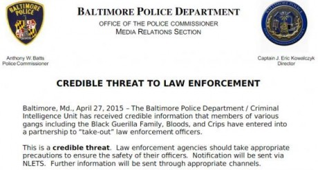 Baltimore Police Department - Credible Threat