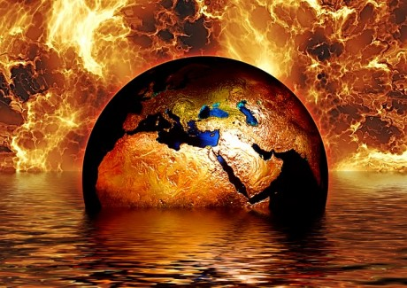 Earth Globe Water Fire - Public Domain