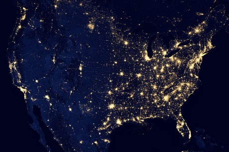 The United States Of America At Night