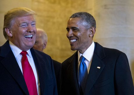 Obama And Trump Laughing - Public Domain